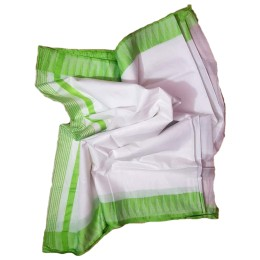 Ethnic Indian Women's Bhagalpuri Handloom Kota silk Saree with contrast temple border and tussels (  White & Green Border )
