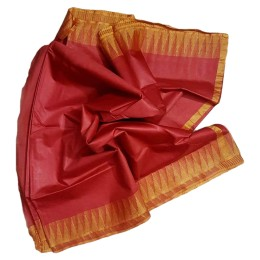 Ethnic Indian Women's Bhagalpuri Handloom Kota silk Saree with contrast temple border and tussels (  Red & Golden Border )