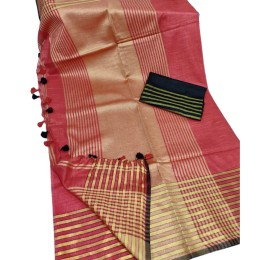 Ethnic Indian Women's Bhagalpuri Bihar Handloom Cotton Khadi saree with contrast Blouse( Red & Black Blouse)