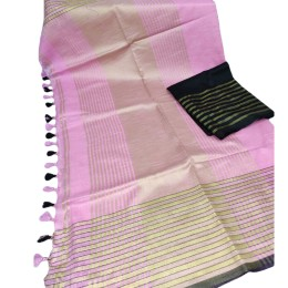 Ethnic Indian Women's Bhagalpuri Bihar Handloom Cotton Khadi saree with contrast Blouse(  Baby Pink & Black Blouse)