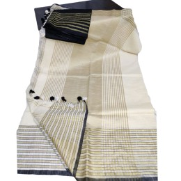 Ethnic Indian Women's Bhagalpuri Bihar Handloom Cotton Khadi saree with contrast Blouse(   Cream & Black Blouse )