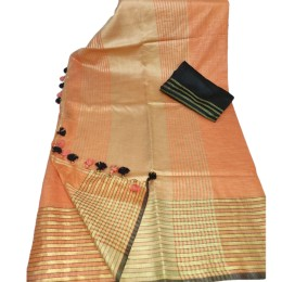 Ethnic Indian Women's Bhagalpuri Bihar Handloom Cotton Khadi saree with contrast Blouse(  Orange & Black Blouse )