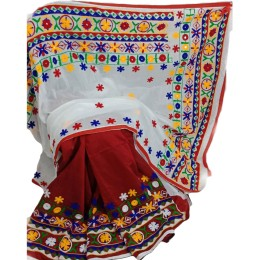 Ethnic Indian Women's Cotton silk sarees with wool, thread embroidery and mirrors(   Multicolor)