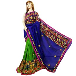 Ethnic Indian Women's Cotton silk sarees with wool, thread embroidery and mirrors(Blue & Green)