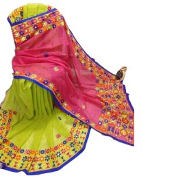 Ethnic Indian Women's Cotton silk sarees with wool, thread embroidery and mirrors( Green & Pink)