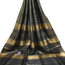 Ethnic Indian Women's Bhagalpuri Handloom elegant Tissue Linen checked Dupattas with border and tussels Black