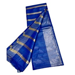 Ethnic Indian Women's Bhagalpuri Handloom elegant Tissue Linen checked Dupattas with border and tussels Blue