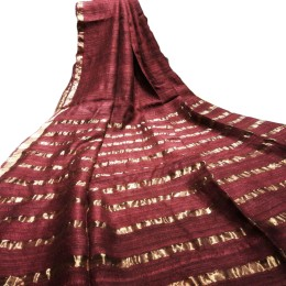Ethnic Indian Women's Bhagalpuri Handloom elegant Tissue Linen checked Dupattas with border and tussels Maroon