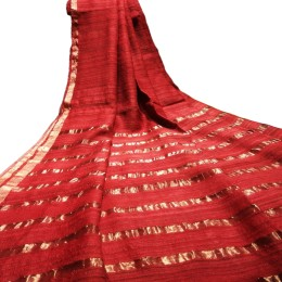 Ethnic Indian Women's Bhagalpuri Handloom elegant Tissue Linen checked Dupattas with border and tussels Red