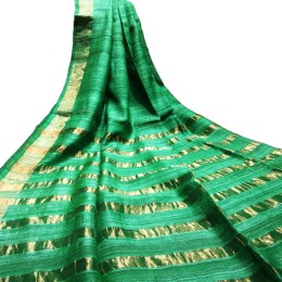 Ethnic Indian Women's Bhagalpuri Handloom elegant Tissue Linen checked Dupattas with border and tussels Green
