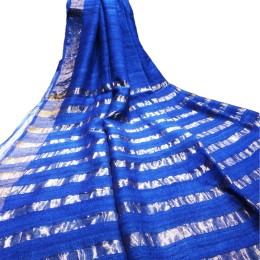 Ethnic Indian Women's Bhagalpuri Handloom elegant Tissue Linen checked Dupattas with border and tussels Royal Blue