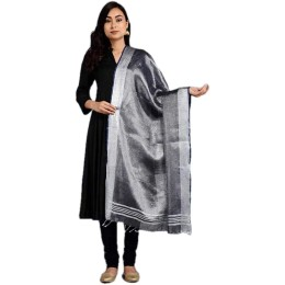 Ethnic Indian Women's Bhagalpuri Handloom elegant Tissue Linen Dupattas with zari border Black