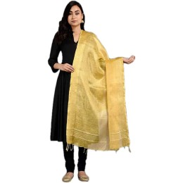 Ethnic Indian Women's Bhagalpuri Handloom elegant Tissue Linen Dupattas with zari border Gold