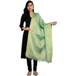 Ethnic Indian Women's Bhagalpuri Handloom elegant Tissue Linen Dupattas with zari border Green