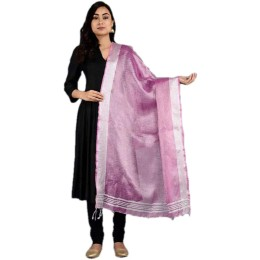 Ethnic Indian Women's Bhagalpuri Handloom elegant Tissue Linen Dupattas with zari border Pink