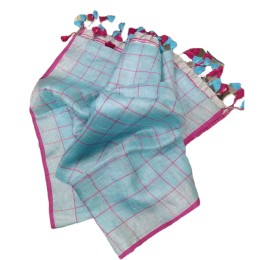 Ethnic Indian Women's Bhagalpuri Handloom elegant Tissue Linen checked Dupattas with border and tussels Sky Blue