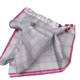 Ethnic Indian Women's Bhagalpuri Handloom elegant Tissue Linen checked Dupattas with border and tussels Grey
