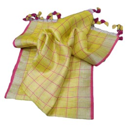 Ethnic Indian Women's Bhagalpuri Handloom elegant Tissue Linen checked Dupattas with border and tussels Yellow
