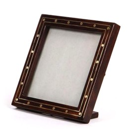 Exclusive Wooden Square Photo Frame With Metal Inlay by Rural Artisans