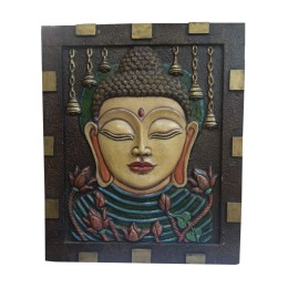 "India Meets India Handicraft Lord Budha Fibre Handpainted Installed On Wooden Wall Hanging 36""X30"" Inch, Best Gifting Made By Awarded Indian Artisan"