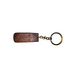 Classy Wooden Key Chain With Brass And Copper Inlay by Rural Artisans