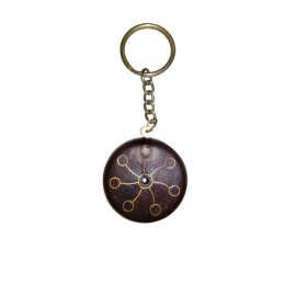 Exclusive Fine Metal Inlay Round Wooden Key Chain by Rural Artisans