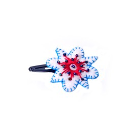 Handcrafted White-Blue Thread Work Flower Tic Tac Hair Clip by Marginalized Women