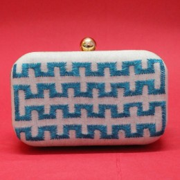 Exclusive Cream Turquoise Maze Embroidered Clutch by Disadvantaged Youth