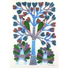 Exclusive Peacocks and Birds Gond Wall Hanging by Tribal Artist from MP