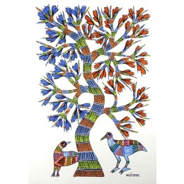 Authentic Tree and Birds Gond Wall Hanging by Tribal Artist from MP