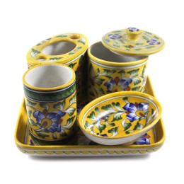 5 Piece Yellow Designer Bathroom Set Gifting by Artisans from Rajasthan