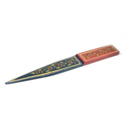 Exclusive Green Wooden Paper Cutter With ancient mughal art painting by Rural Artisans