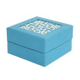 Striking Sky Blue Sanjhi Art Box For Gifting By Women Self Help Groups