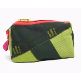 Handcrafted Green Printed Cloth All Purpose Pouch by Disadvantaged Women in Rural Faridabad
