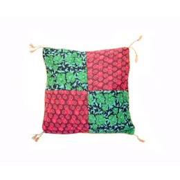 Handmade Maroon Blue Floral Printed Cushion Cover By Disadvantaged Women