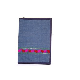 Blue Leaf Patterned Handmade Jute File Folder by Disadvantaged Women