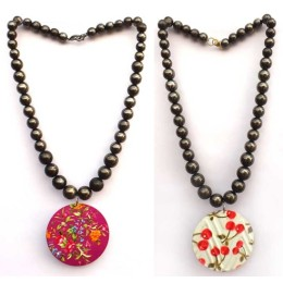 Handcrafted Pink & White Beads Round Pendant Necklace Combo by Vulnerable Women Groups