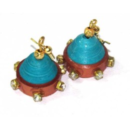 Turquoise Blue And Brown Jhumka Earrings By Survivors Of Acid Attack