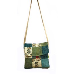 Funky Green-Blue Kantha Work Sling Bag by Disadvantaged Women in Rural Faridabad