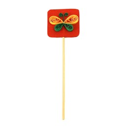 Recycled Red-Green Butterfly Paper Quilled Bookmark Stick (Set of 2) by Self Help Groups