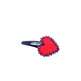 Handcrafted Red Thread Work Heart Tic Tac Hair Clip by Marginalized Women
