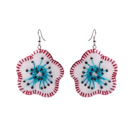 Funky Handcrafted White-Blue Flower Thread Work Earrings by Marginalized Women