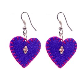 Funky Handcrafted Royal Blue Thread Work Heart Earrings by Marginalized Women