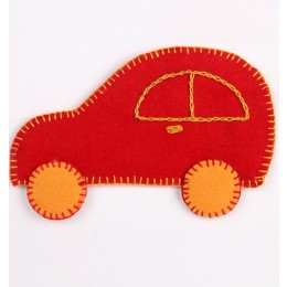 Funky Handcrafted Red-Yellow Thread Work Car Motif by Marginalized Women