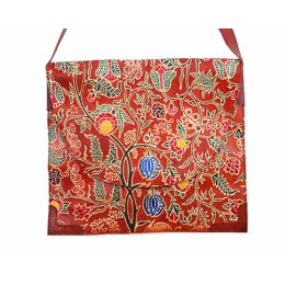 Unique Red Floral Leather Ipad Sling Bag by Tribals from Gujarat.