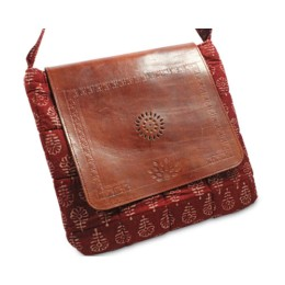Ethnic Brown Leather-Silk Ipad Sling Bag by Tribals from Gujarat.