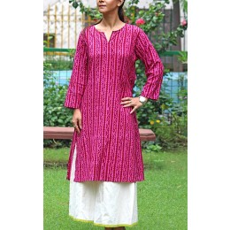 Exclusive Magenta Pink Printed Cotton Kurta by Rural Artisans of Bikaner