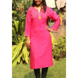 Attractive Magenta Full Sleeve Silk Kurta With Embroidery by Rural Artisans of Rajasthan