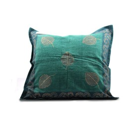 Blue Textured Leafy Block Printed Cushion Cover by Rural Artisans