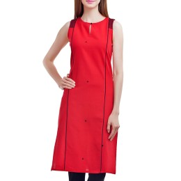 Handcrafted Red Cotton Kurti by Artisans of Rajasthan & U.P.